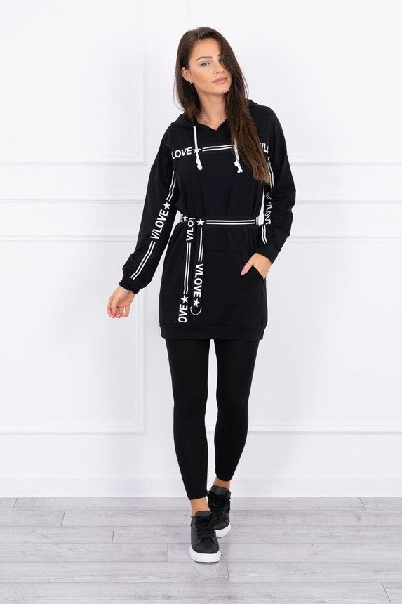 Dress decorated with tape with inscriptions black