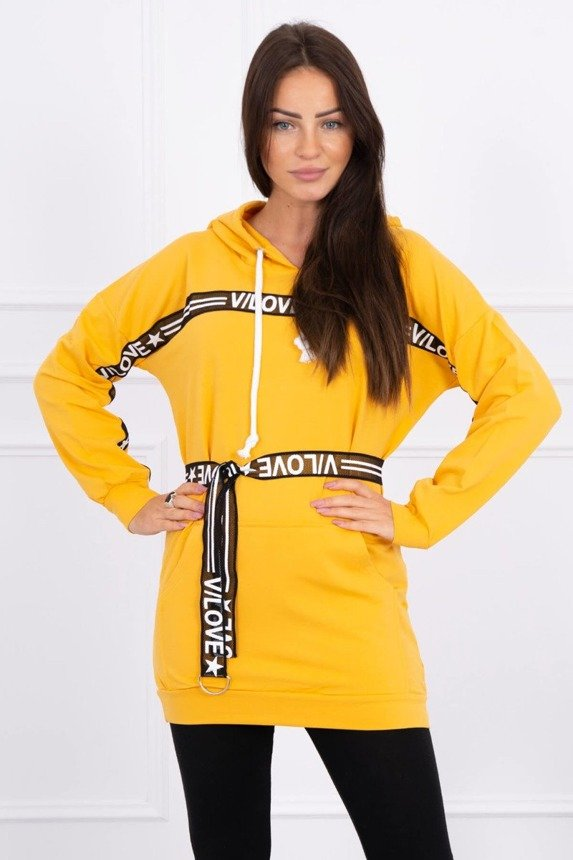 Dress decorated with tape with inscriptions mustard