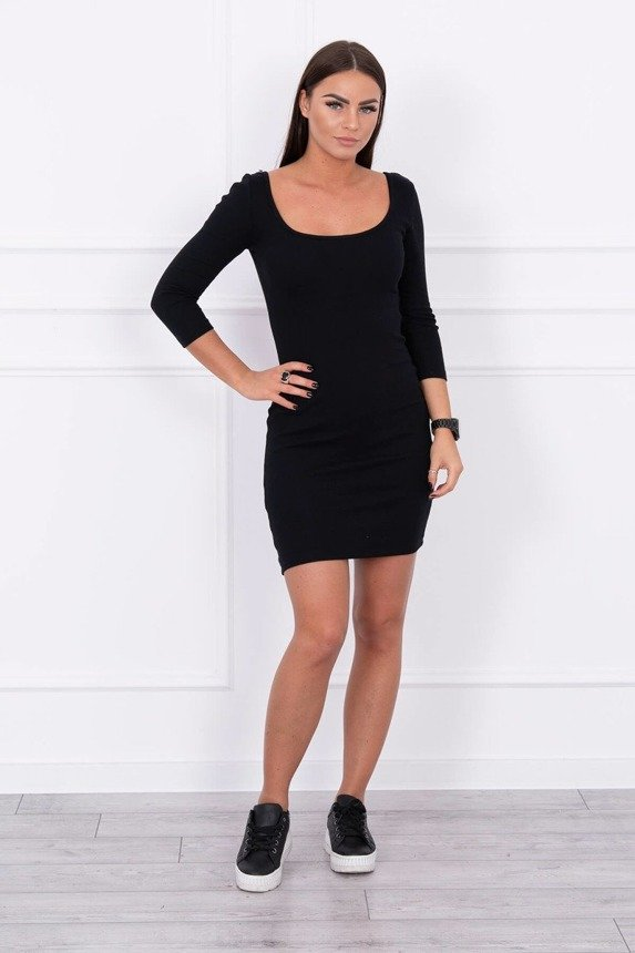 Dress fitted with a round neckline, 3/4 sleeve black