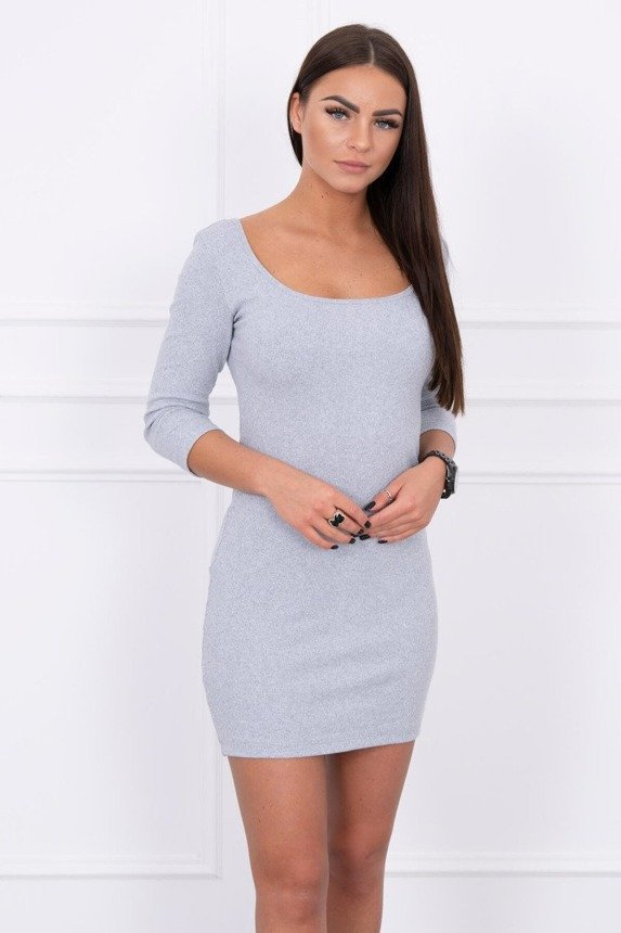 Dress fitted with a round neckline, 3/4 sleeve gray