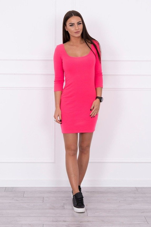 Dress fitted with a round neckline, 3/4 sleeve pink neon
