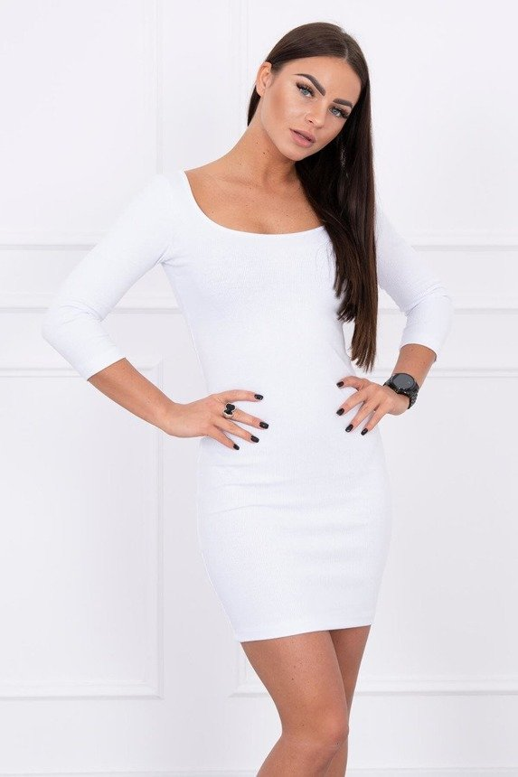 Dress fitted with a round neckline, 3/4 sleeve white