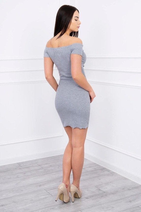 Dress fitted with a tied neckline graphite