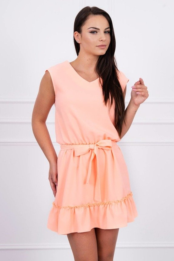 Dress flared with flounces apricot