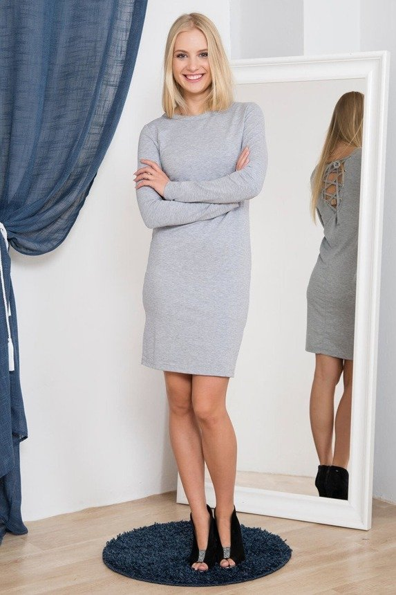 Dress laced at the back gray