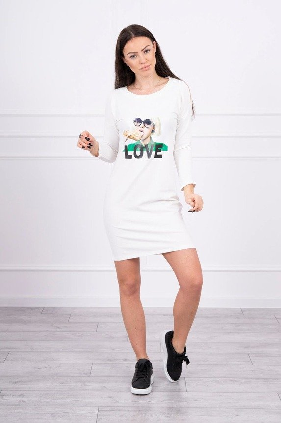 Dress with Love print ecru