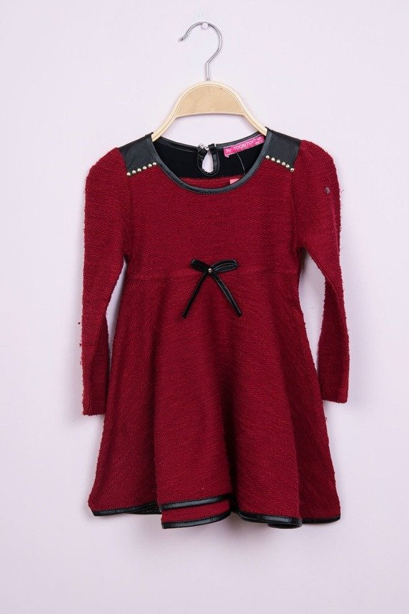 Dress with a flared bottom burgundy (4 pcs.)