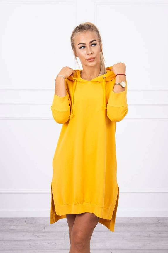 Dress with a hood and longer back mustard