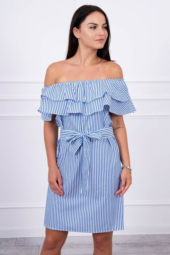 Dress with bare shoulders in stripes blue