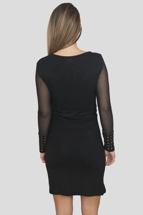 Dress with brads tied at the waist black