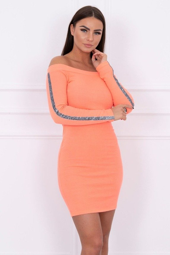 Dress with brocade stripe apricot