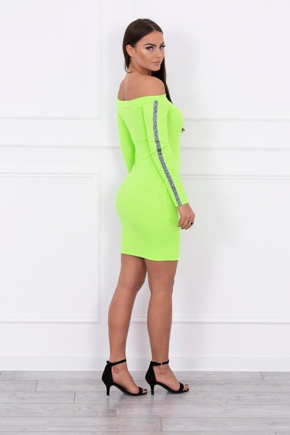 Dress with brocade stripe green neon