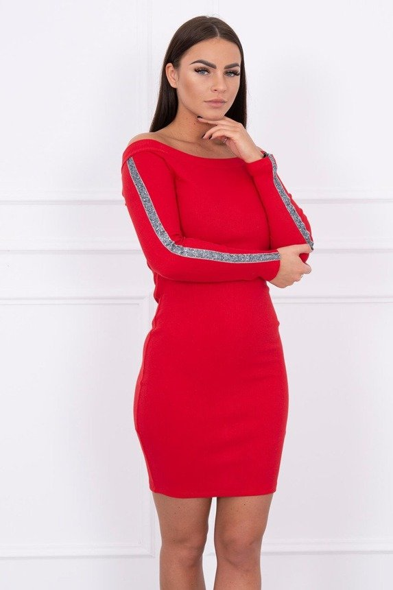 Dress with brocade stripe red