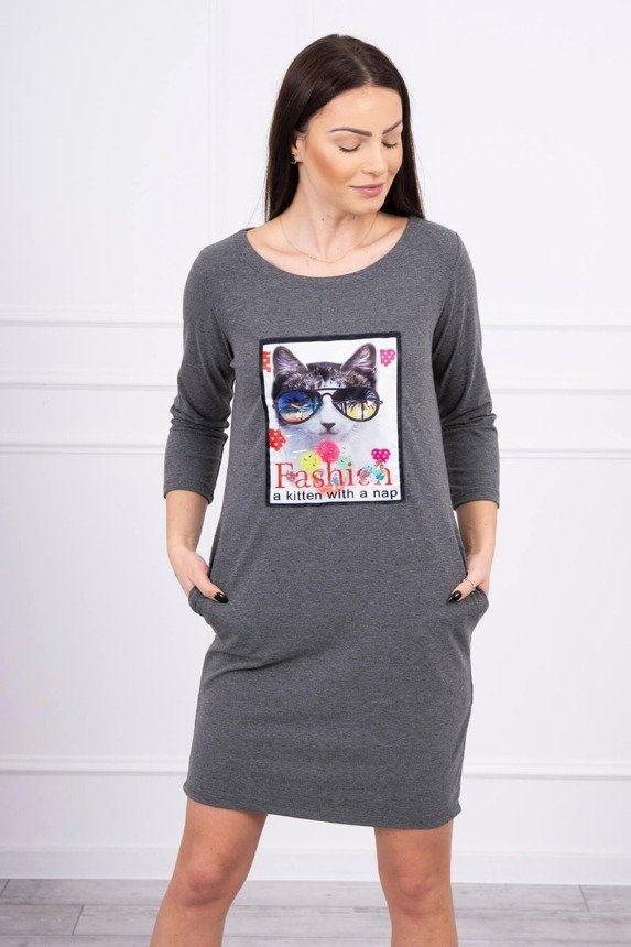 Dress with cat graphics 3D graphtie