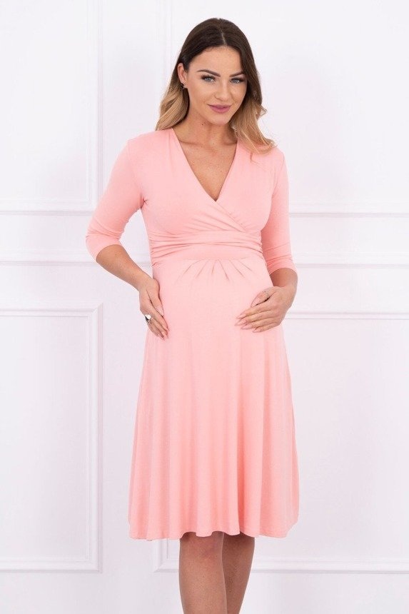 Dress with cut-off under the bust salmon