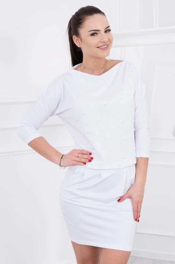 Dress with decorative pearls white