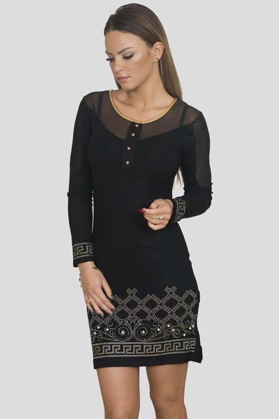Dress with ethnic pattern black