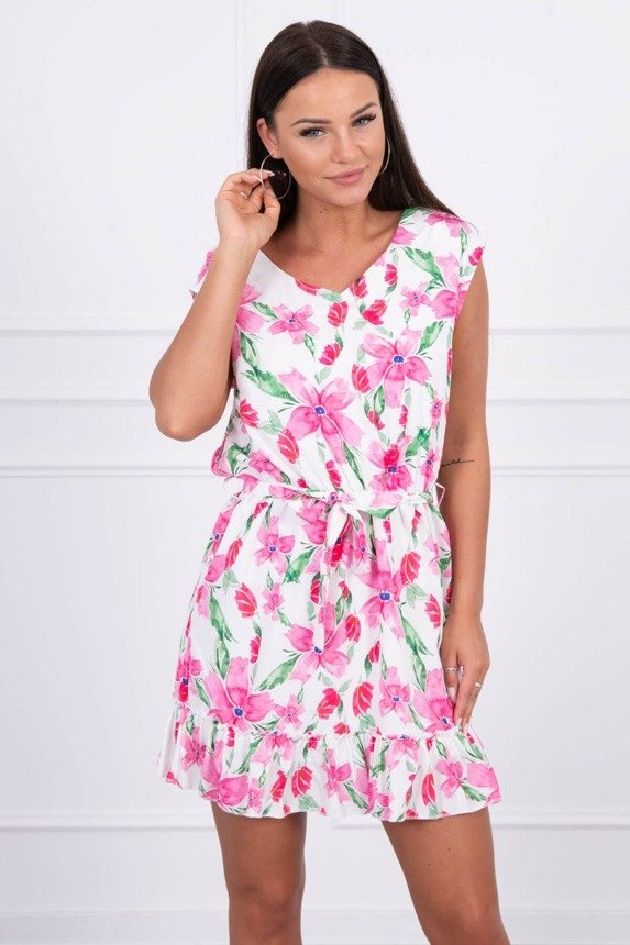 Dress with flower print pink
