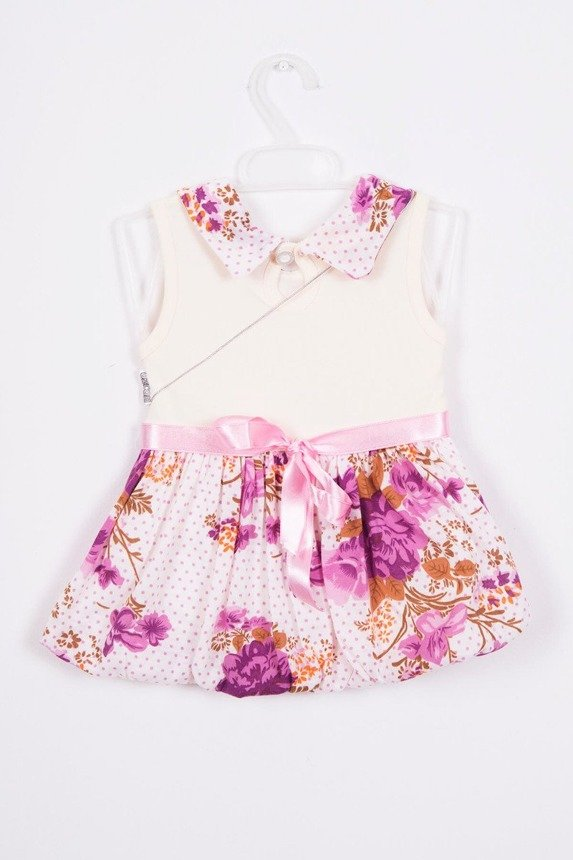 Dress with flowers at waist purple (3 pcs.)