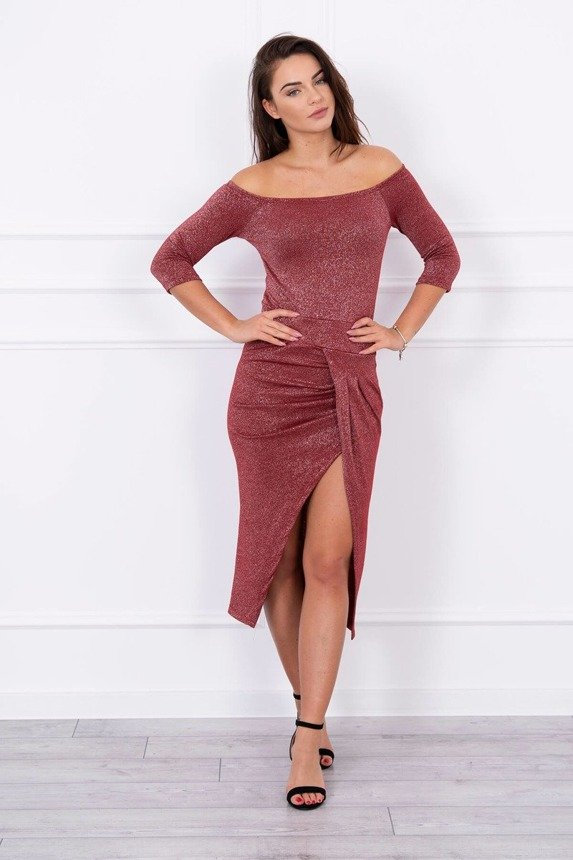 Dress with fly burgundy