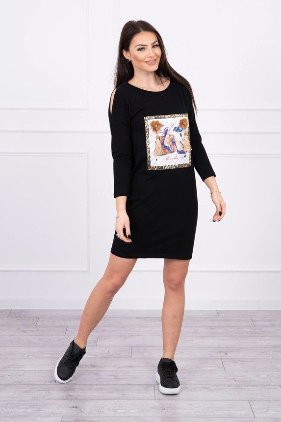 Dress with graphics 3D and decorative pom pom black
