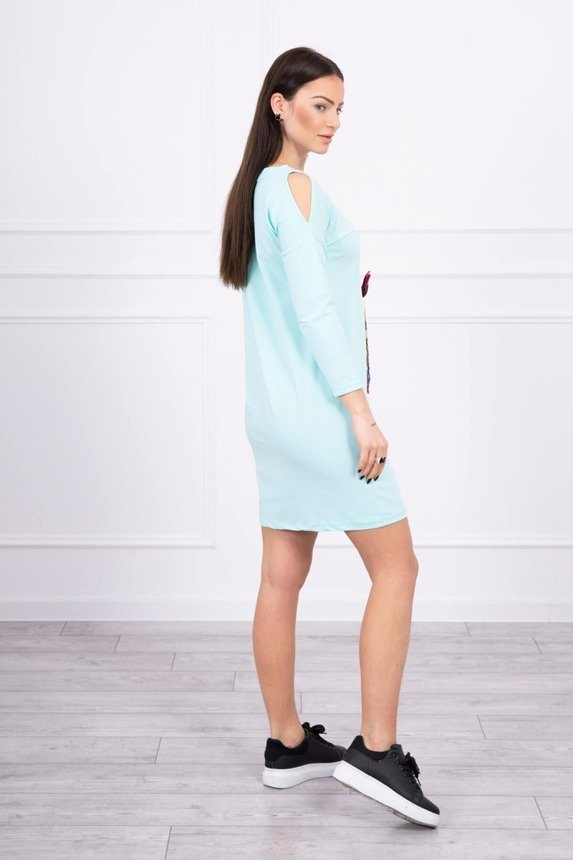 Dress with graphics and colorful bow 3D mint