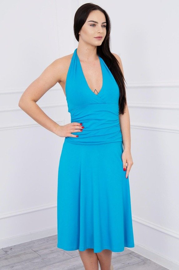 Dress with halter neck turquoise