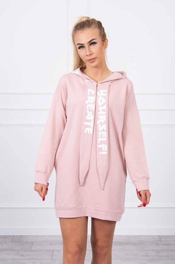 Dress with hood Oversize dark powdered pink