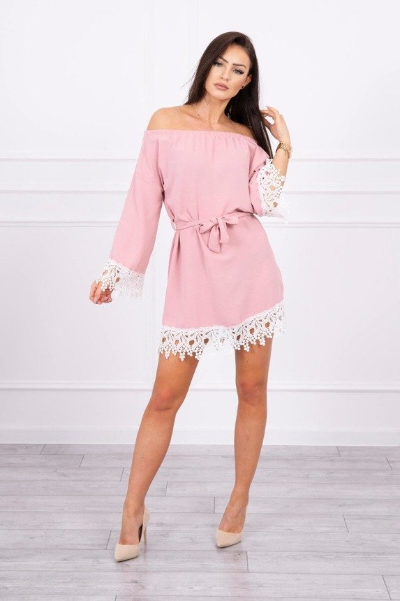 Dress with lace tied at the waist dark pink