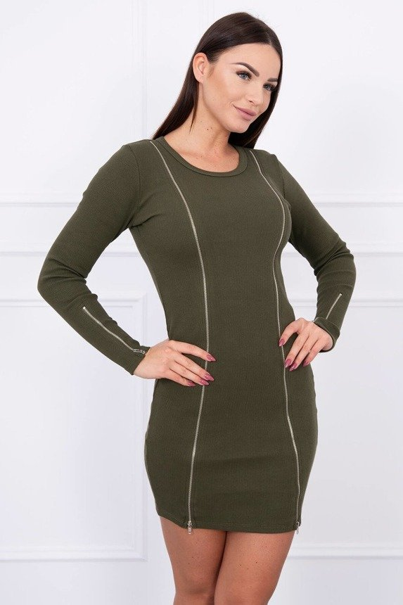 Dress with long zippers khaki
