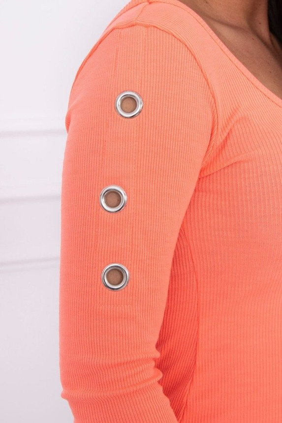 Dress with metal eyelets apricot