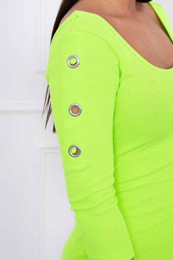 Dress with metal eyelets green neon
