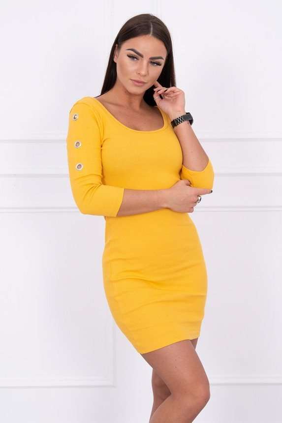 Dress with metal eyelets mustard