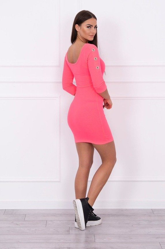 Dress with metal eyelets pink neon