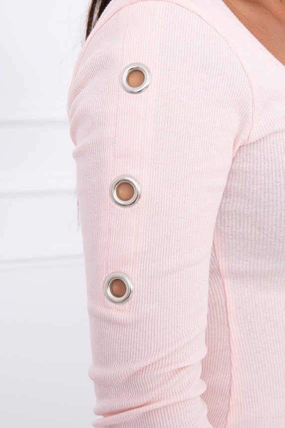 Dress with metal eyelets powdered pink