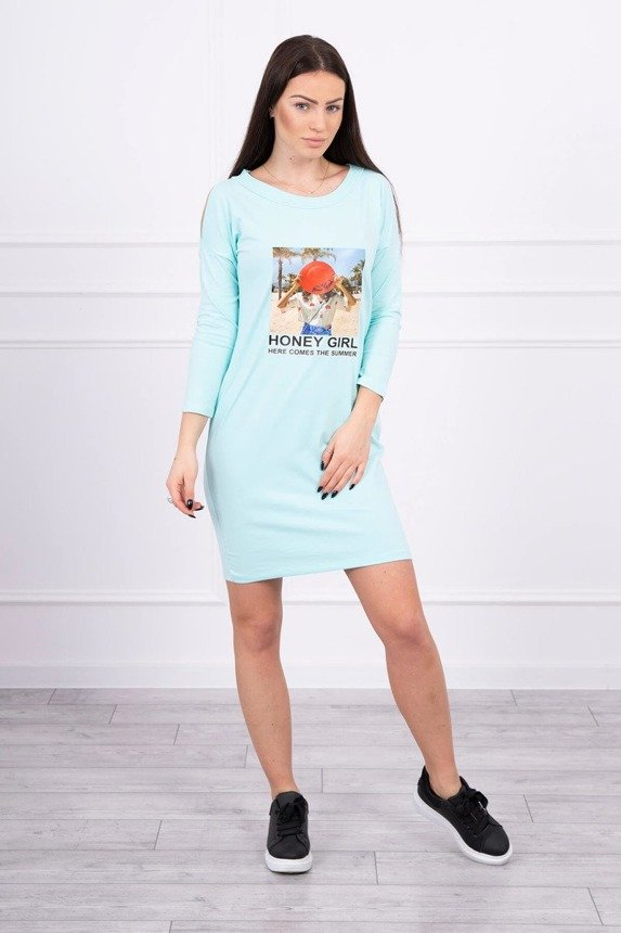 Dress with print Honey girl mint
