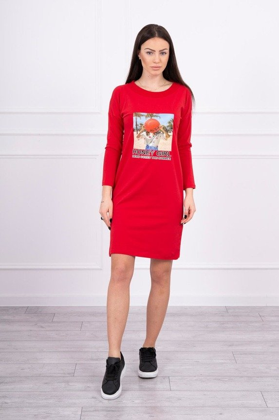 Dress with print Honey girl red