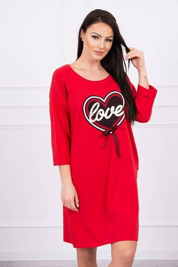 Dress with print Love Plus Size red