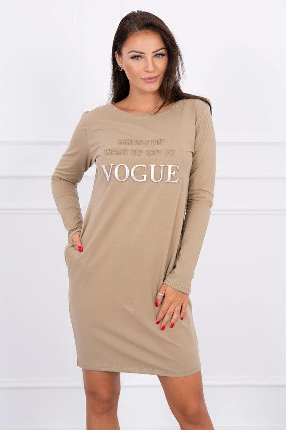 Dress with the word Vogue camel