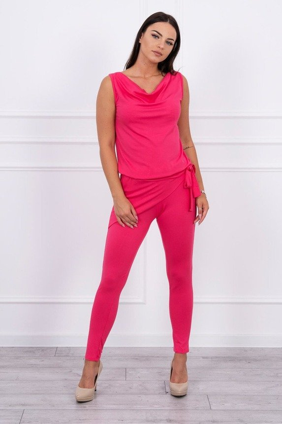 Elegant suit with binding fuchsia