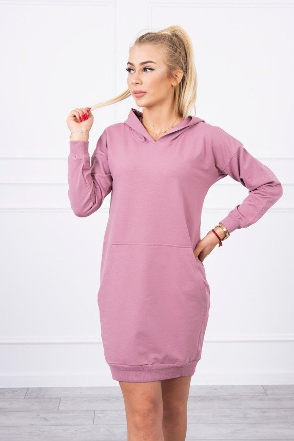 Hooded dress dark pink
