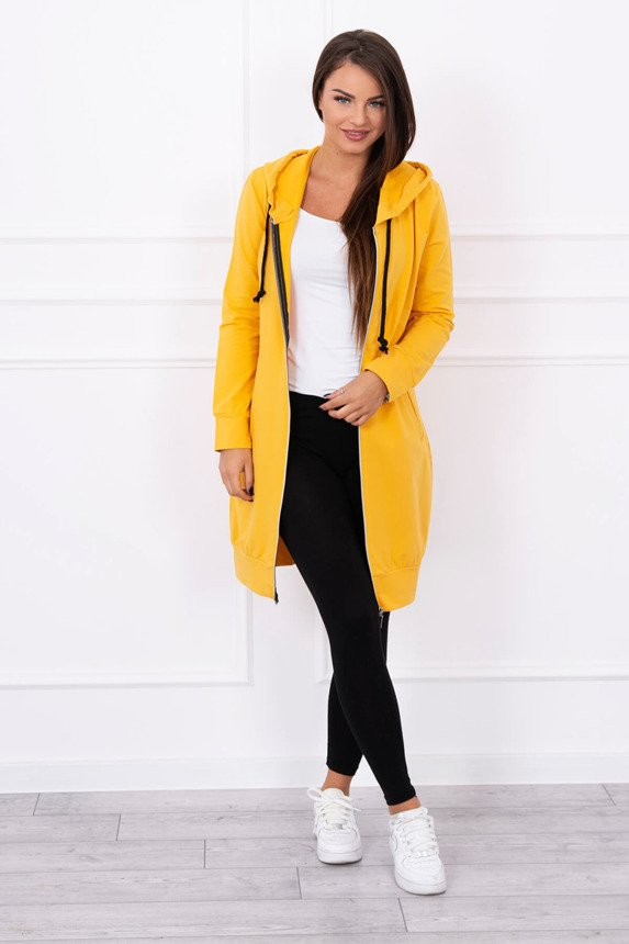 Hooded dress with a hood mustard