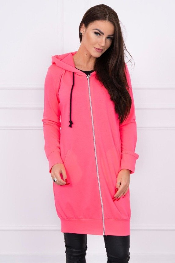Hooded dress with a hood pink neon