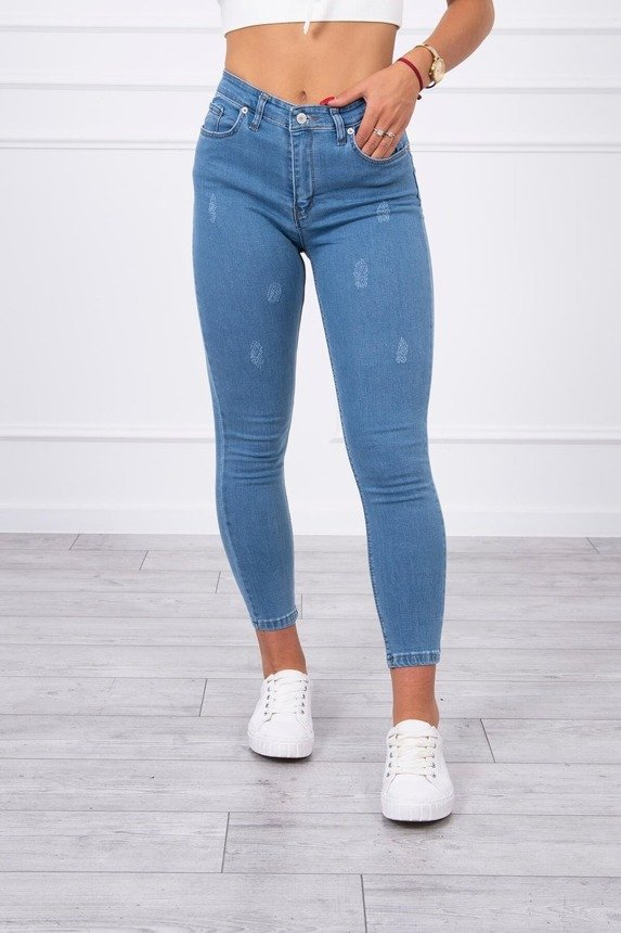 Lightly rubbed denim jeans