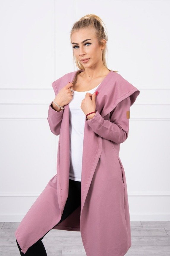 Long cardigan with hood dark pink