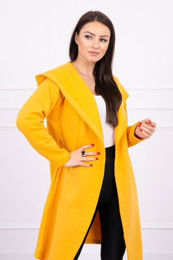 Long cardigan with hood mustard