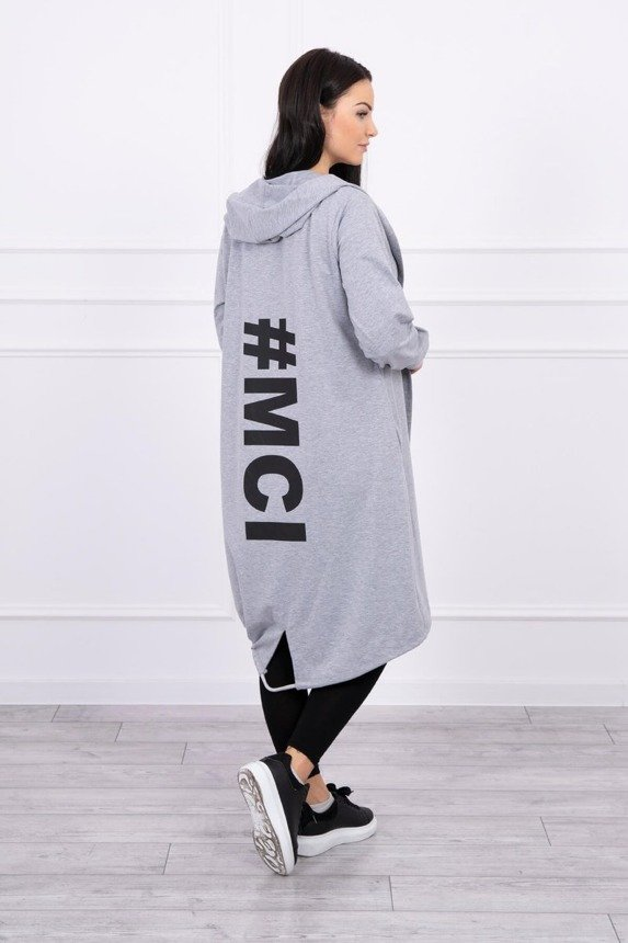 Long cardigan with print Plus Size gray
