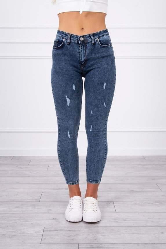 Marbled denim trousers