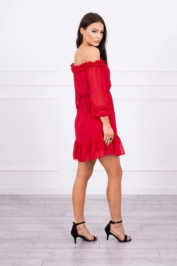 Off-the-shoulder dress with frills red