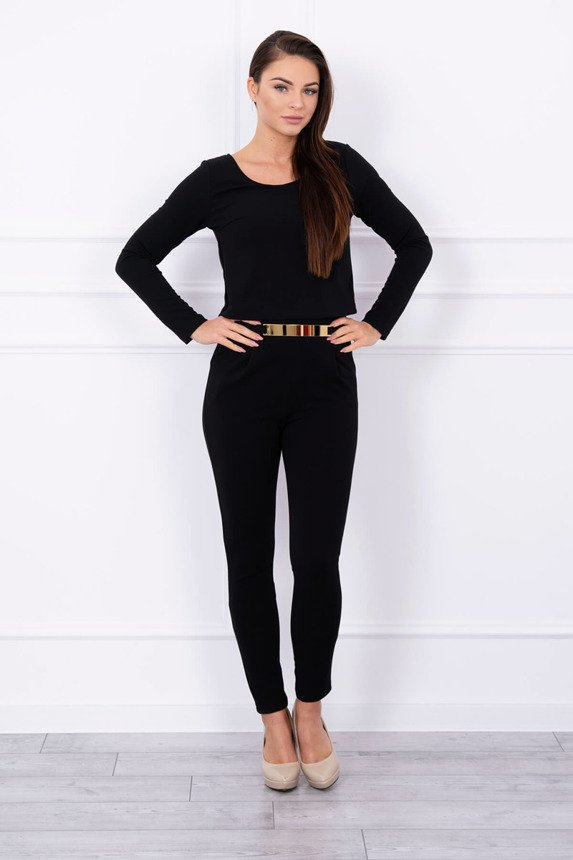 Overalls fitted with a golden element black